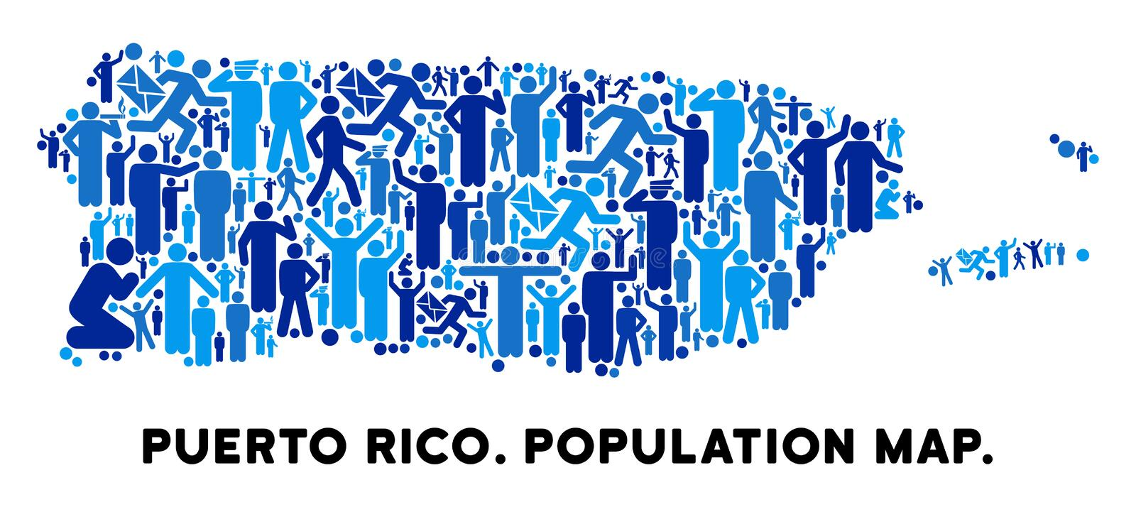 People Puerto Rico Map. Vector population Puerto Rico map. Demography collage of Puerto Rico map designed of men with variable poses. Demographic map in blue stock illustration