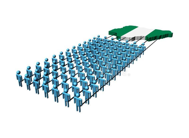 People pulling Nigeria map flag stock illustration