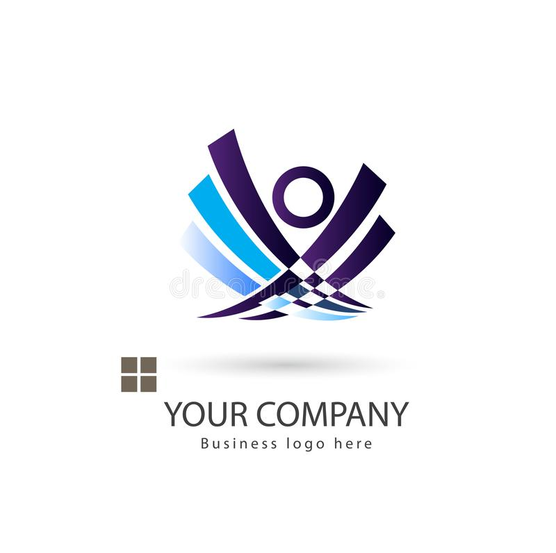 People purple color logo design stock illustration