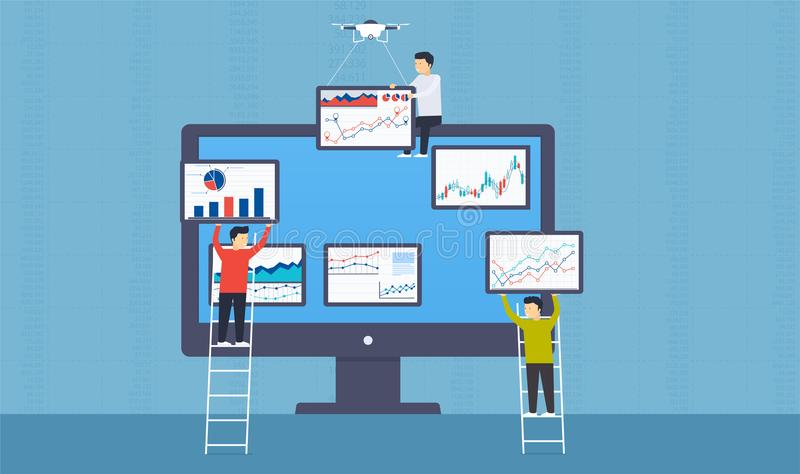 People put statistics and web analytics of business on monitor. stock illustration
