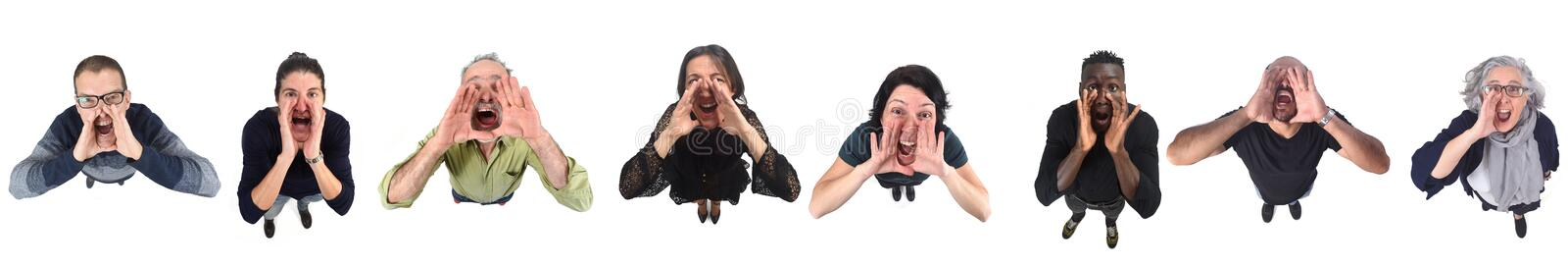 People putting a hand in mouth and is screaming on white background.  stock photos
