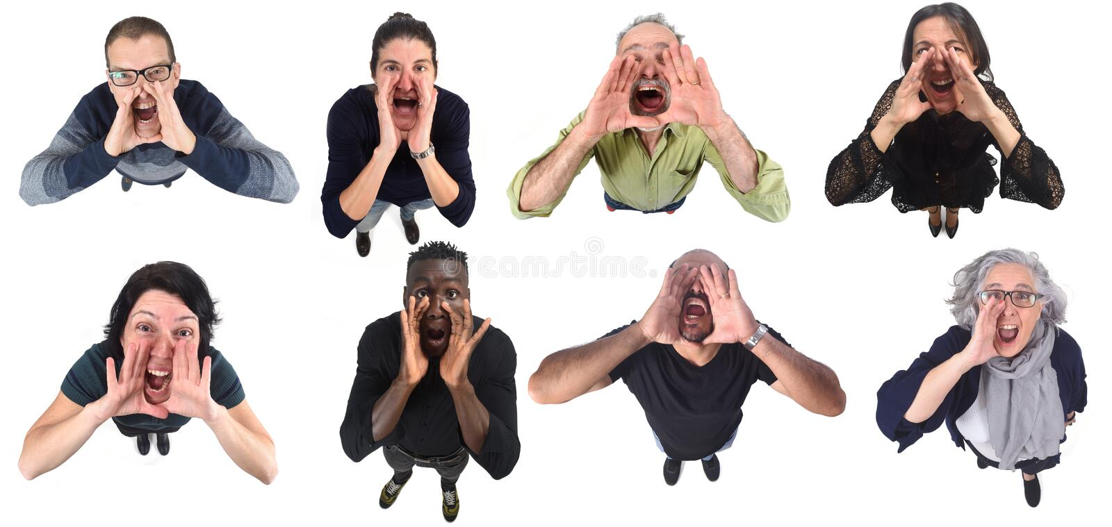 People putting a hand in mouth and is screaming on white background.  stock image