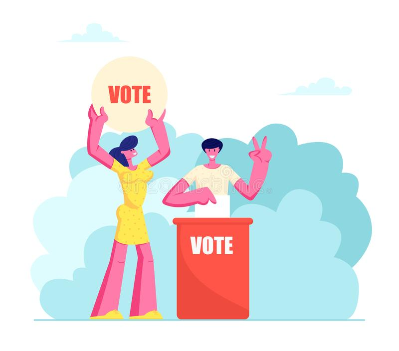 People Putting Paper Vote into Ballot Box. Male and Female Characters, Law-abiding Citizen, City Dwellers Execute their Rights. And Duties in Political Life of royalty free illustration