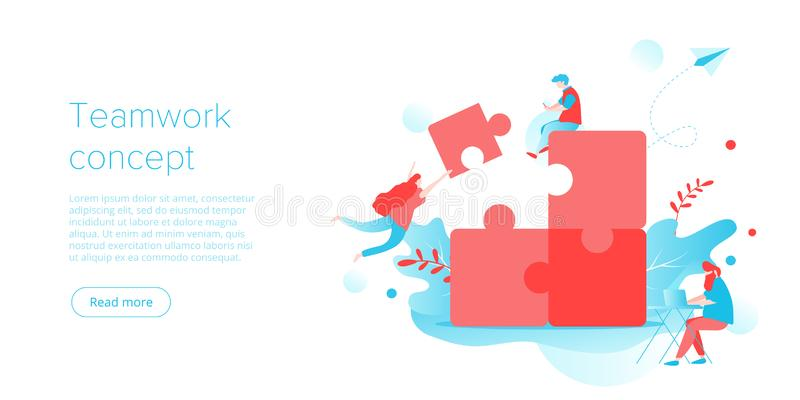 People putting puzzle together as business teamwork concept. Parthenrship or collaboration idea for corporate team building. Businessmen work together on stock illustration