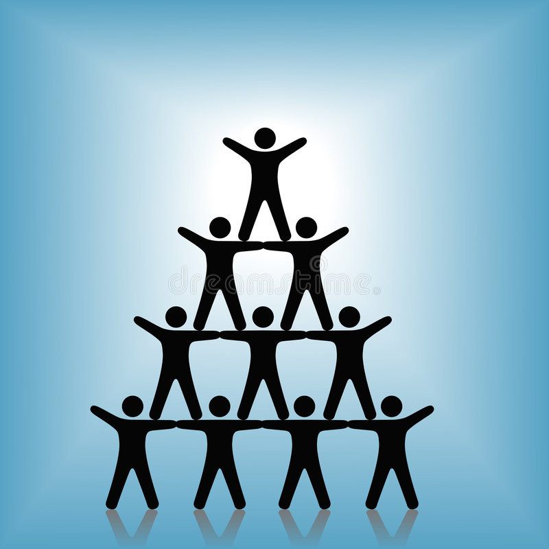 Free People Pyramid Group Teamwork Success On Blue Royalty Free Stock Image - 4491786