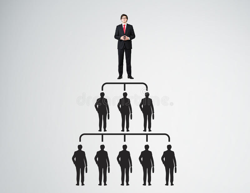 People pyramid with leader in red tie. People pyramid with one leader at the top and silhouettes at all levels. Concept of leadership and cheating royalty free illustration