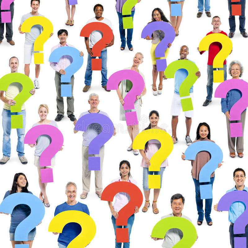People with Question Marks. Group of people with question marks royalty free stock photos