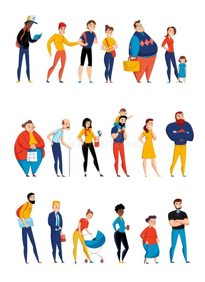 People Queue Horizontal Sets vector illustration