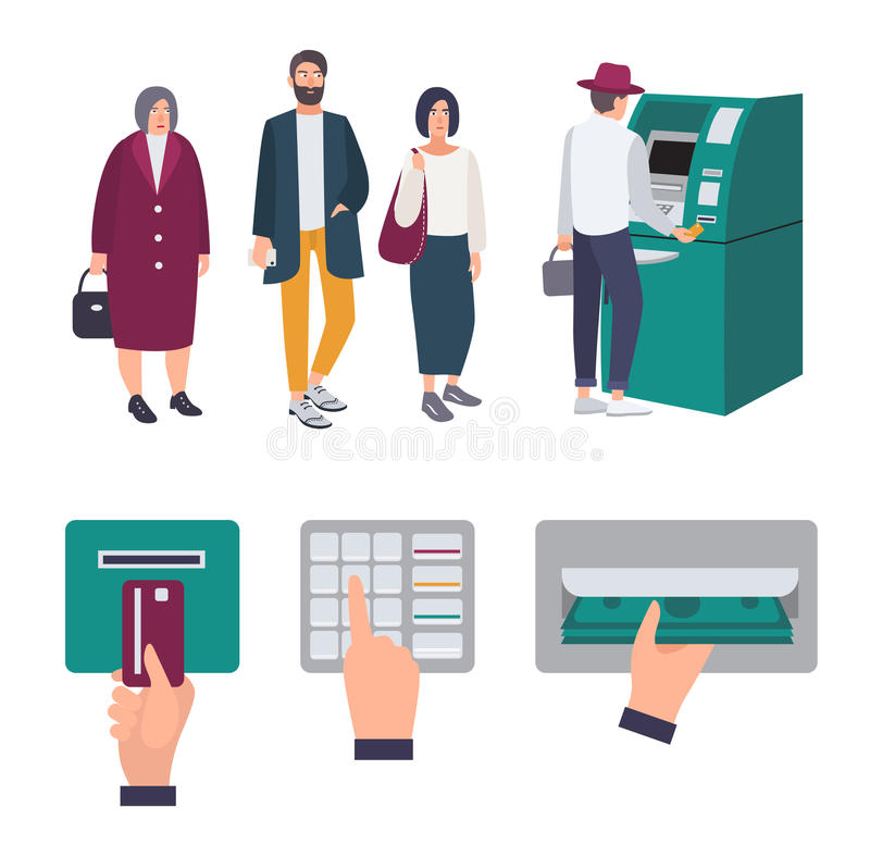 People queue near ATM. Operations Insert credit card, enter pin code, receiving money. Set of colorful images in flat vector illustration