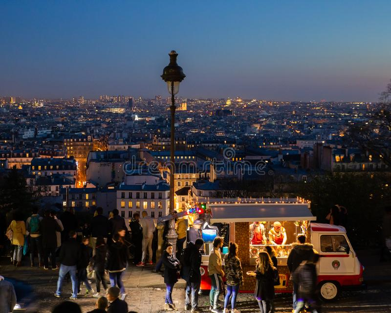 People queuing for a snack in Montmatre Paris France royalty free stock photography