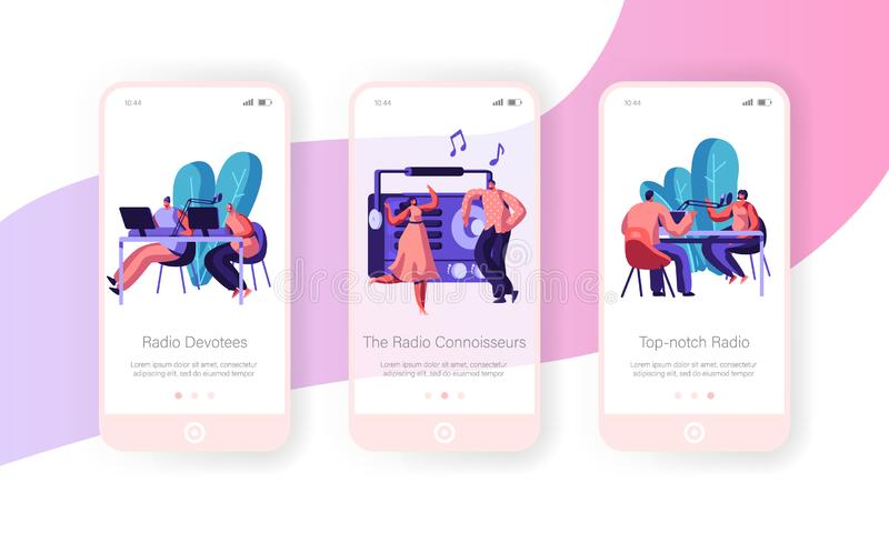 People and Radio Concept for Website or Web Page, Radio Host Broadcasting and Communicate with Listeners, News, Music, Dancing. Mobile App Page Onboard Screen vector illustration