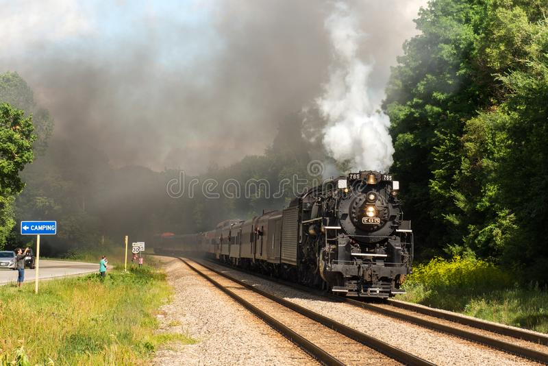 People railfanning the passing of the Nickel Plate Road 765 stock photography