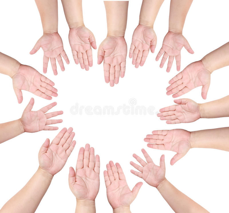 Free People Raise Their Hand To Volunteer In Heart Shap Royalty Free Stock Images - 22461489