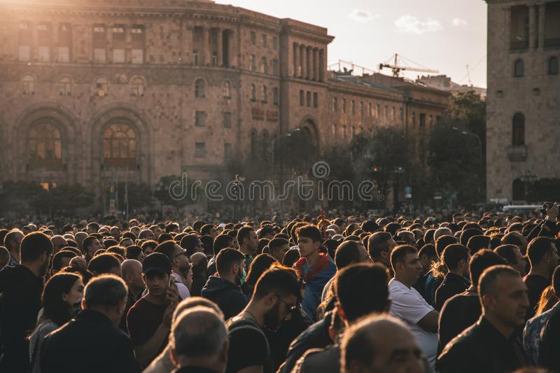 People on a rally royalty free stock photo