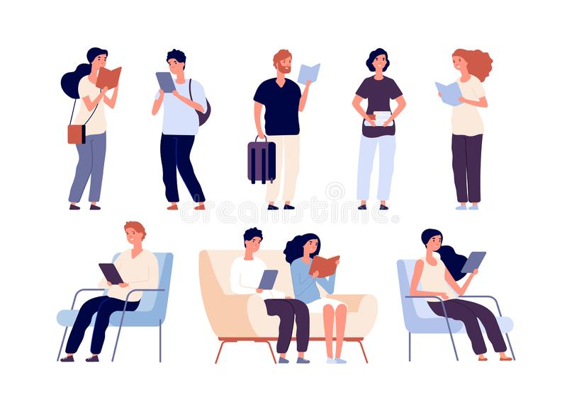 People read. Persons reading books sit on chair in bookstore book festival. Students studying in library vector isolated vector illustration