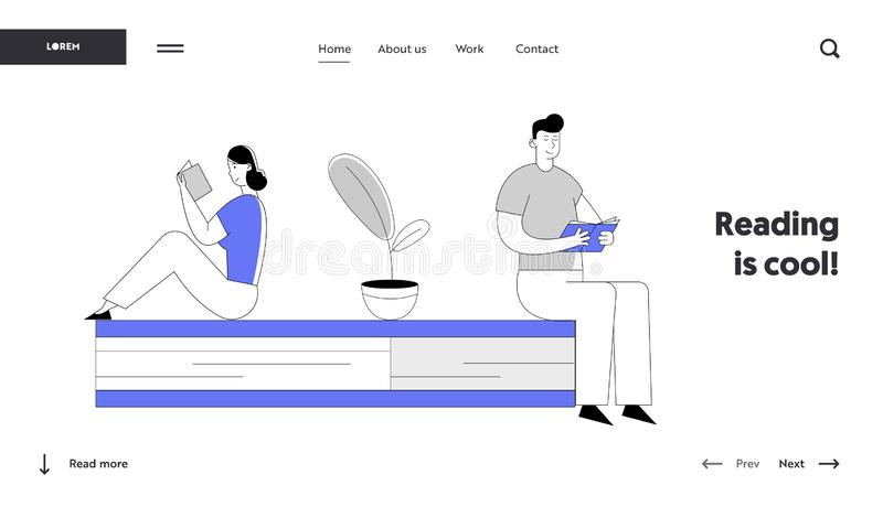 People Reading Book Website Landing Page. Woman and Man Students Spend Time in Library or Prepare for Examination. Characters Gaining Knowledge Web Page Banner stock illustration