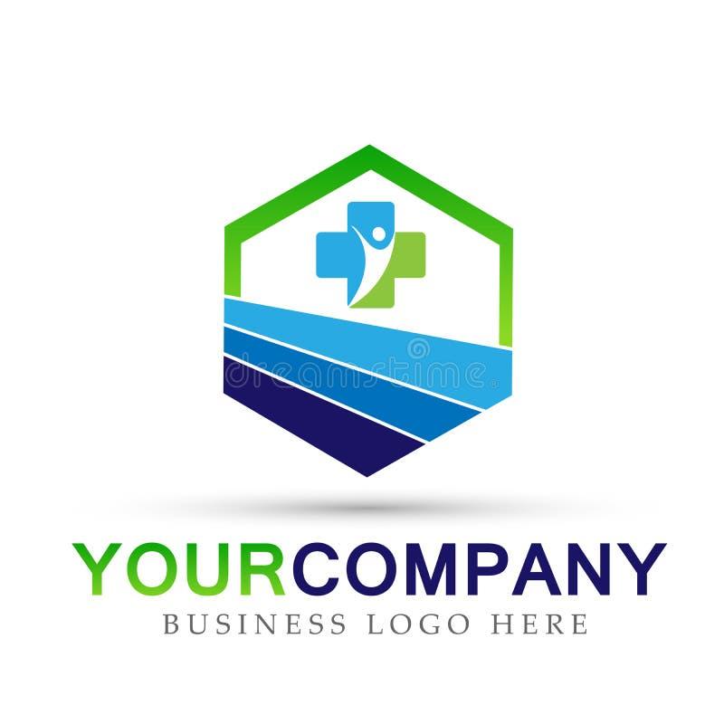 People real estate, health care, Medical building icons symbol logo design on white background. People real estate, health care, Medical building icons symbol stock illustration