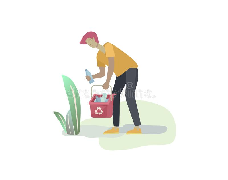 People Recycle Sort organic Garbage in different container for Separation to Reduce Environment Pollution. Man collect stock illustration