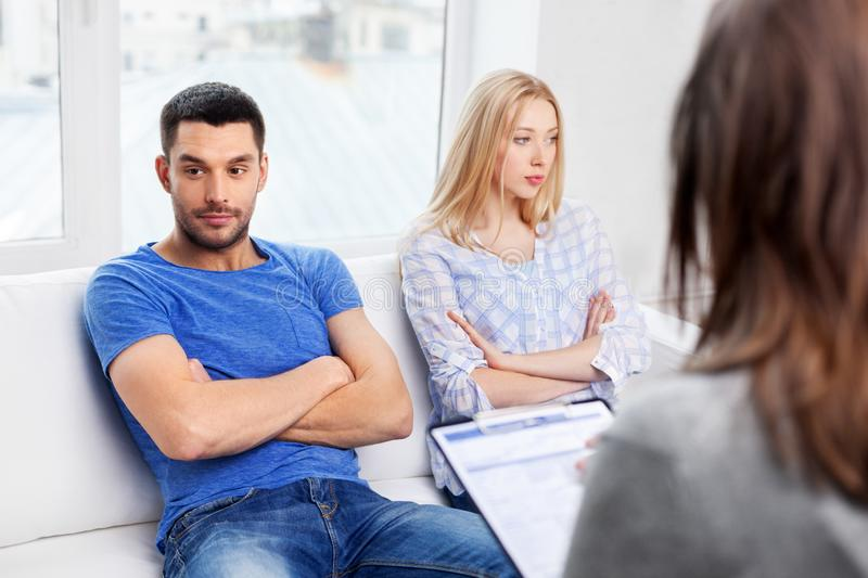 Couple with problem at family psychologist office royalty free stock image