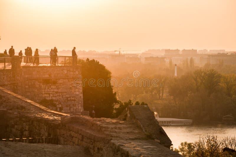 People Relaxing on Belgrade Fortress Kalemegdan stock photos