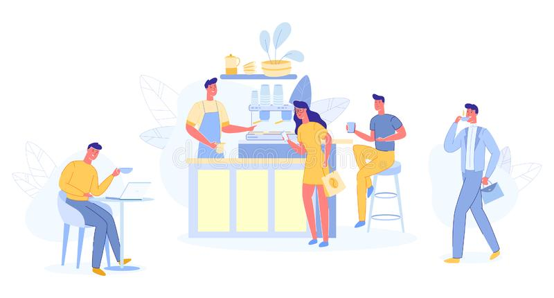 Modern Place Interior to Meet, Drink and Eat, Chat. People Relaxing in Cafe Shop. Modern Place Interior to Meet, Drink and Eat, Chat, Have a Rest, Enjoy Free vector illustration