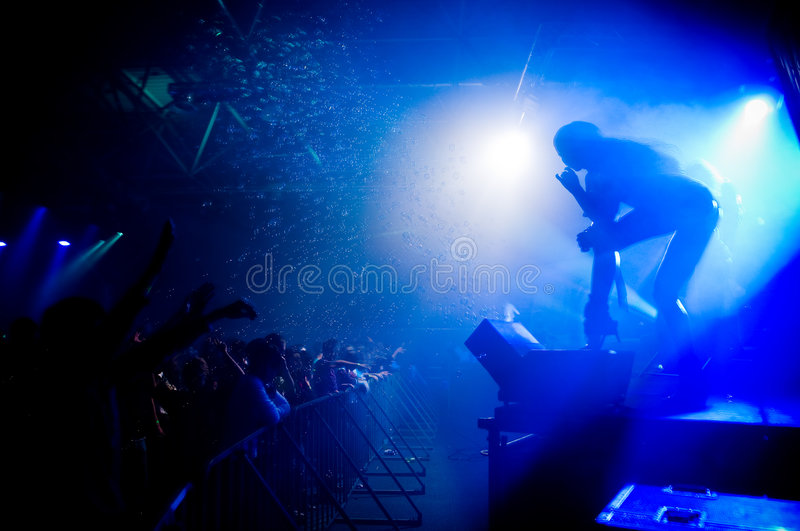 People relaxing at the concert. Anonymous girl on the stage royalty free stock photos