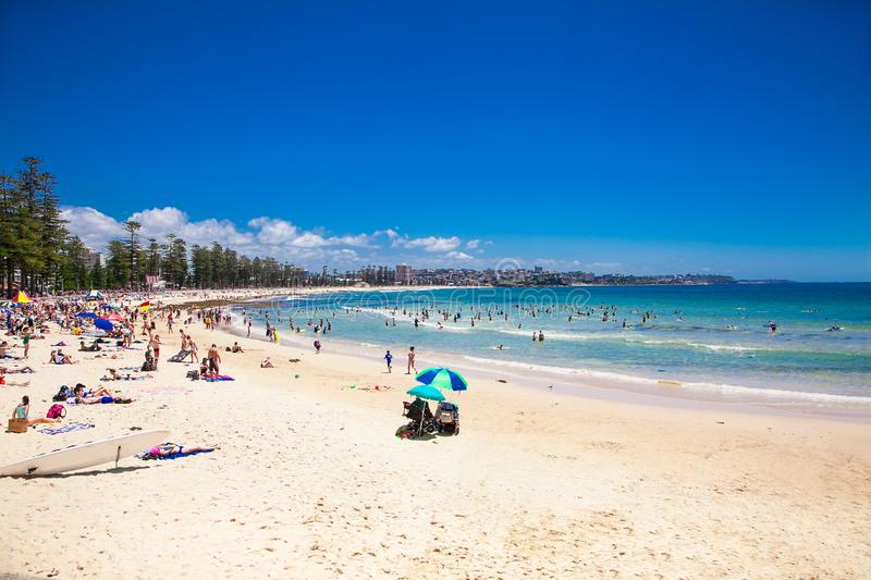 People relaxing at Manly beach in Sydney, Australia. royalty free stock photography