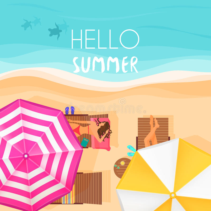 Download People Relaxing By The Ocean With Hello Summer Words. Vector  Illustration. Exotic Summer