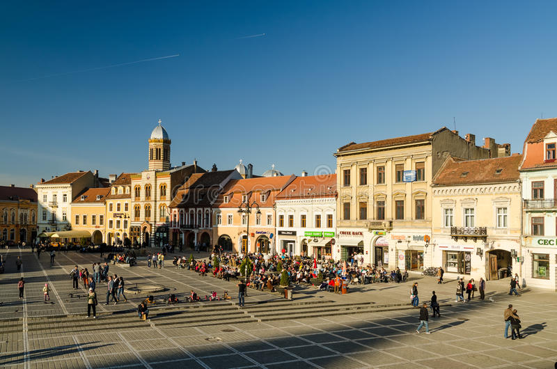 People Relaxing On Restaurants In Downtown Brasov royalty free stock image