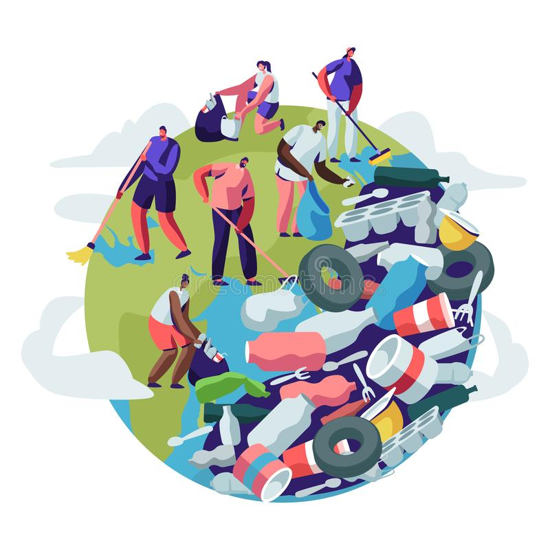 People Removing Trash from Planet. Male and Female Characters Cleaning Earth Surface with Rakes. Recycling Ecology Concept. People Saving Planet, World vector illustration