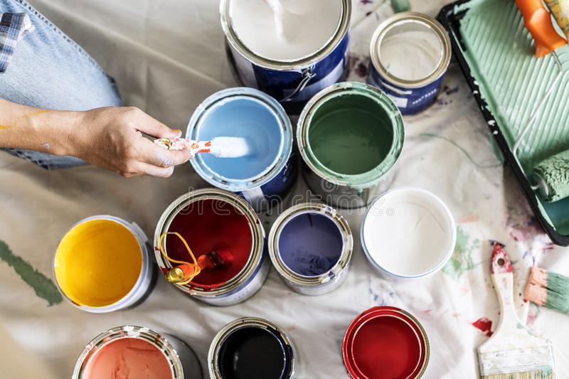 People renovating the house paint colours stock photos
