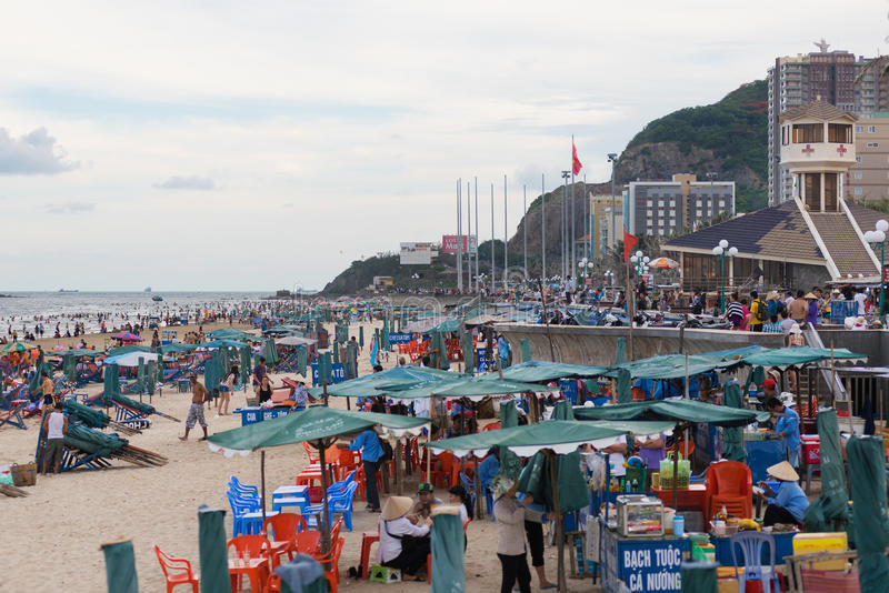 People rest at Vung Tau beach royalty free stock image
