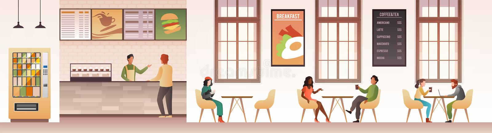 People at restaurant. Guys snacking meal in food court, family eating dinner in cafeteria or buffet interior flat vector. Design of modern cafe with customer vector illustration