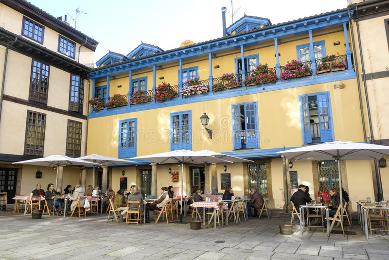 People in the restaurant, Oviedo, Spain. stock photo