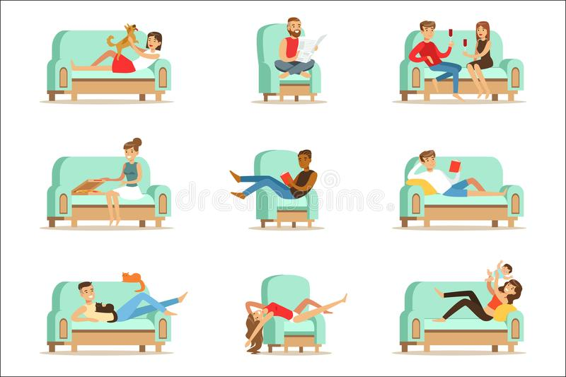 People Resting At Home Relaxing On Sofa Or Armchair Having Lazy Free Time And Rest Seris Of Illustrations. Weekend Indoors With Happy Men And Women Having Good vector illustration