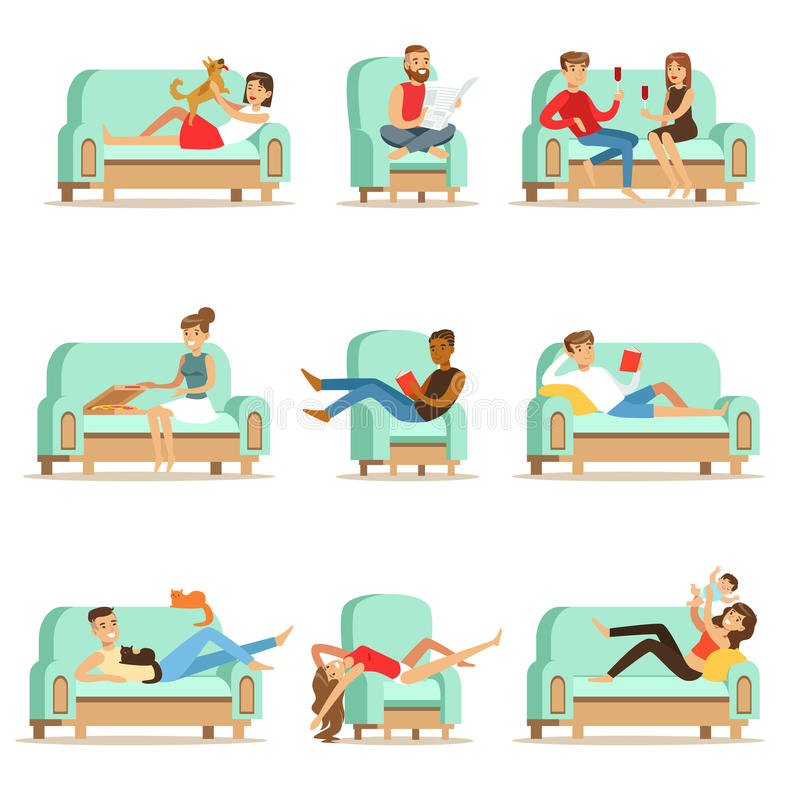People Resting At Home Relaxing On Sofa Or Armchair Having Lazy Free Time And Rest Seris Of Illustrations. Weekend Indoors With Happy Men And Women Having Good stock illustration