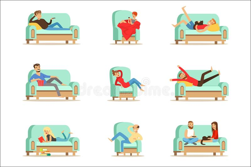 People Resting At Home Relaxing On Sofa Or Armchair Having Lazy Free Time And Rest Set Of Illustrations. Weekend Indoors With Happy Men And Women Having Good vector illustration