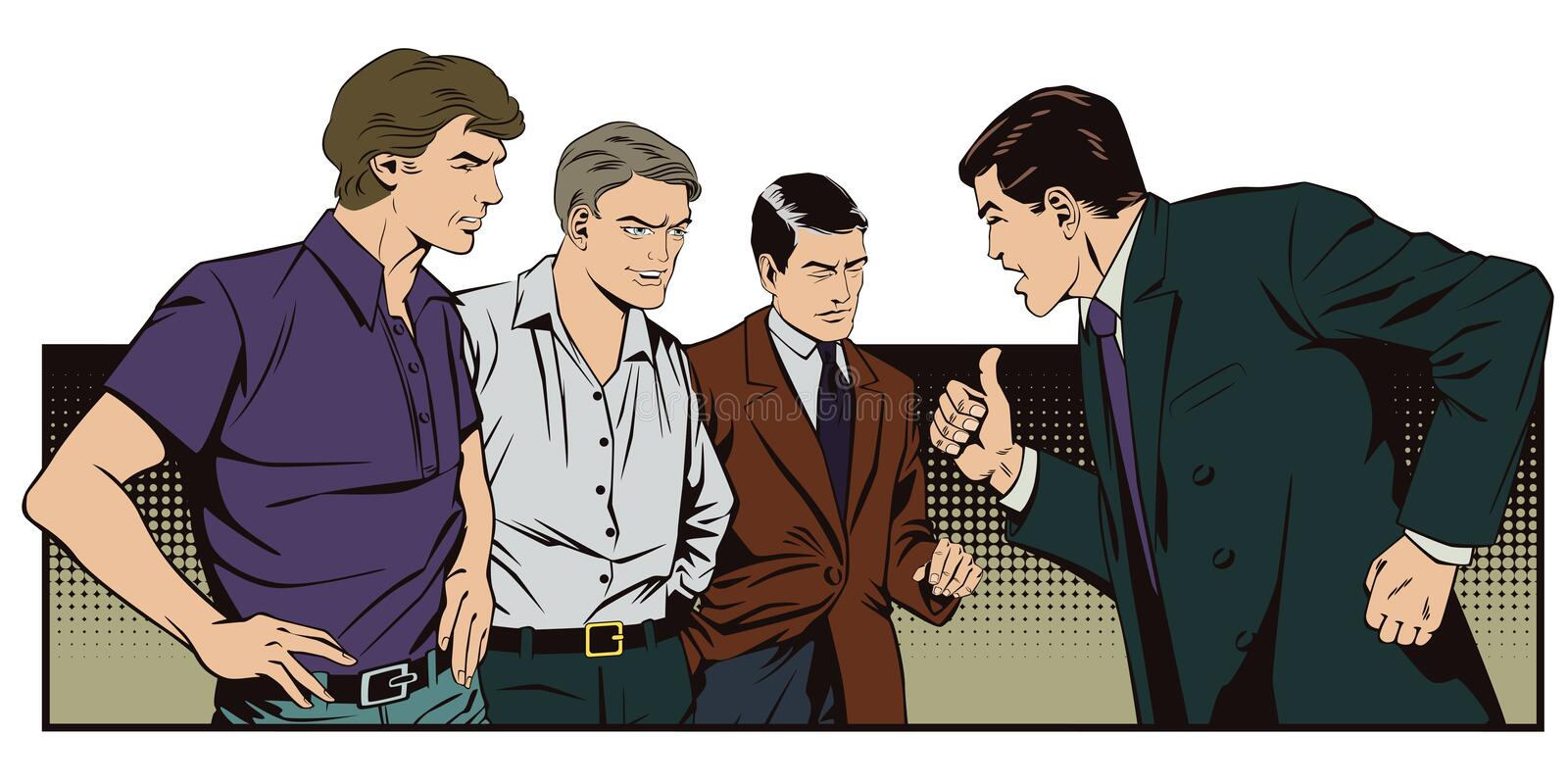 People in retro style. Boss berates subordinates. vector illustration