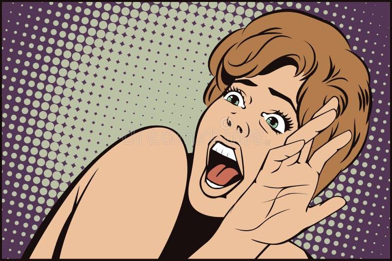 People in retro style. Girl screaming in horror. stock illustration