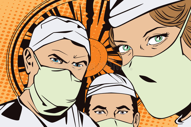People in retro style pop art and vintage advertising. The doctors in the operating room. royalty free illustration