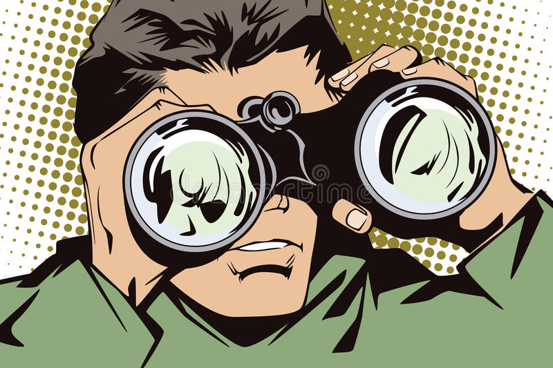 People in retro style pop art and vintage advertising. Man with binoculars royalty free illustration