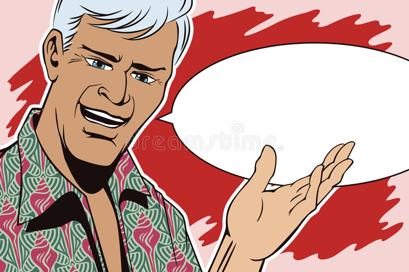 People in retro style pop art and vintage advertising. Man makes inviting gesture. People in retro style pop art and vintage advertising. Man makes inviting vector illustration