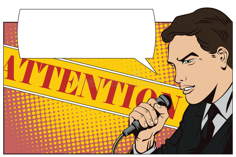 People in retro style pop art and vintage advertising. A man with a microphone.  royalty free illustration