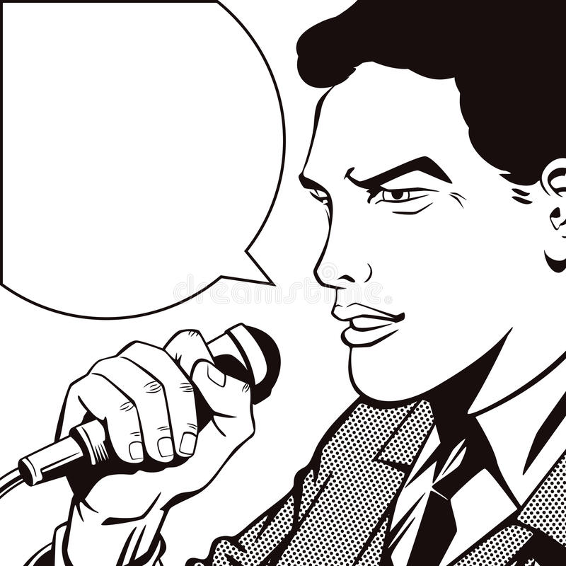 People in retro style pop art and vintage advertising. A man with a microphone.  vector illustration