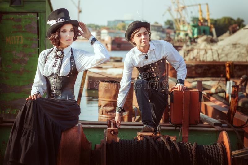 People in retro style steampunk stock image