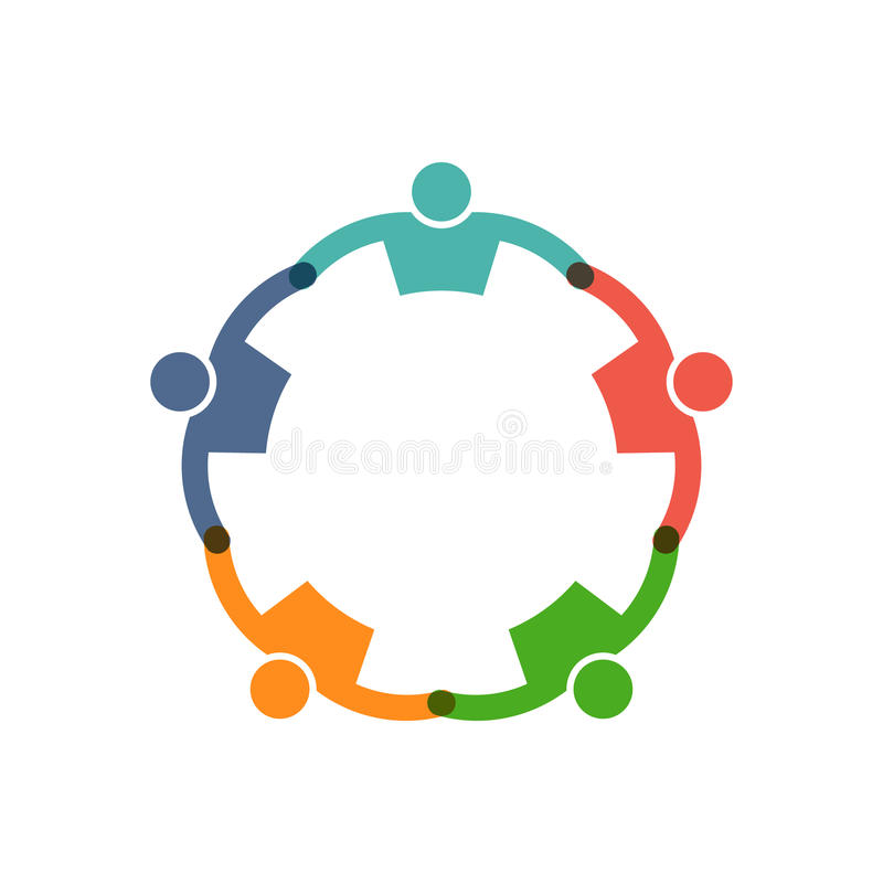People Reunion in a Round Illustration. Social friends in circle logo. Vector graphic design illustration stock illustration