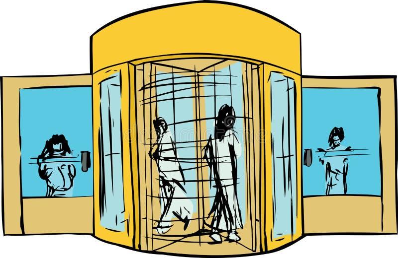 People at Revolving Door vector illustration