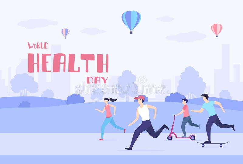 People Walk and Play Sports in the Park in World Health Day royalty free illustration