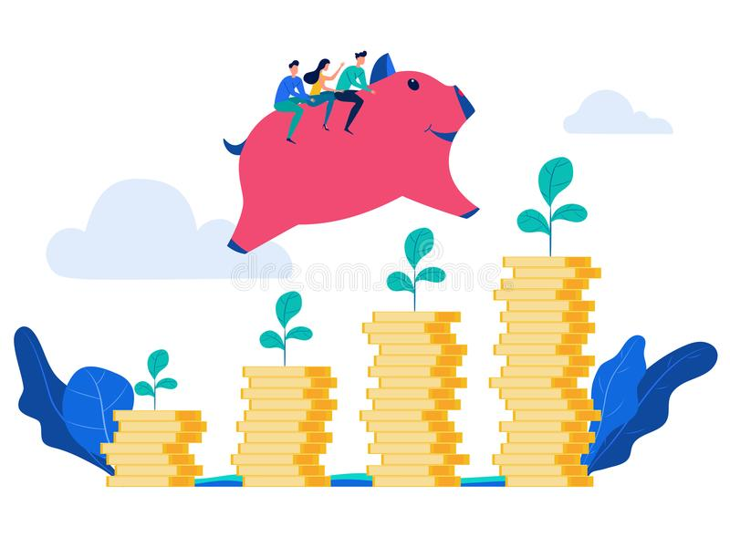 People rides piggy bank jump over money stack and growing a successful financial chart. Investment and increasing finance stock illustration