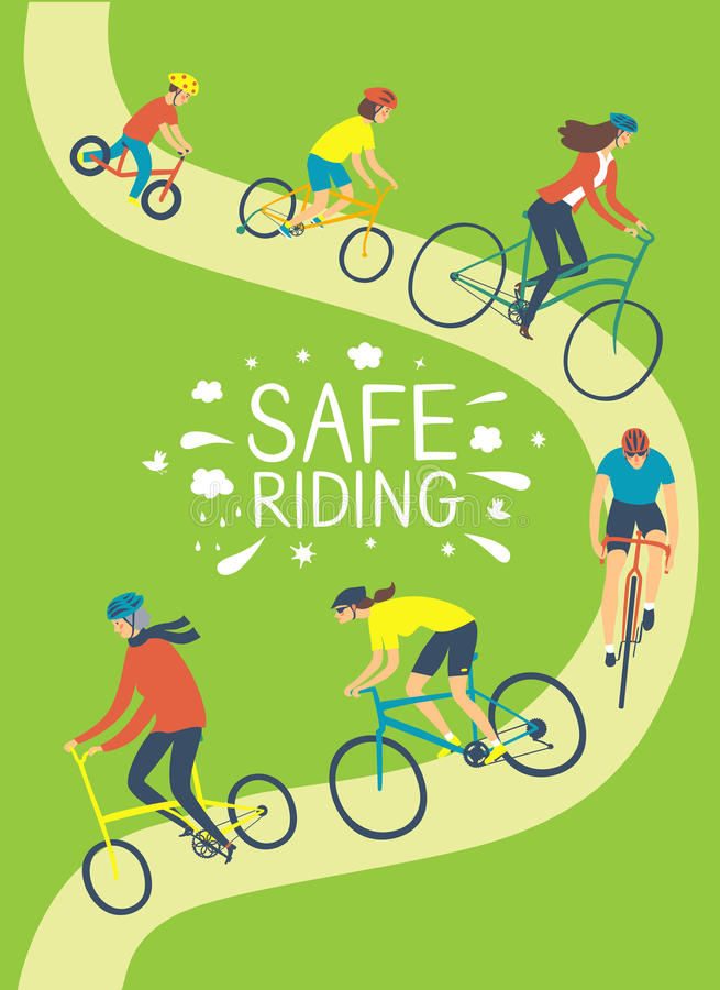 People riding a bicycle and wearing helmets vector illustration